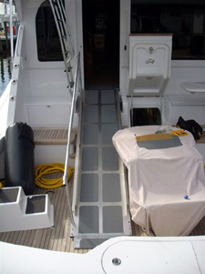 Wheelchair ramp on a 77' Hatteras
